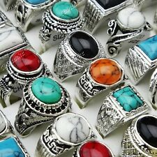 Mix Style 6pcs Turquoise Vintage Silver Women Mens Rings Wholesale Jewerly Lots