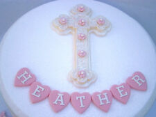 Edible large cross &  flower Personalised Holy Communion Baptism cake topper