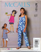 MCCALL'S SEWING PATTERN 7151 GIRLS SZ 7-14 PULLOVER DRESS TOP, SHORTS & JUMPSUIT