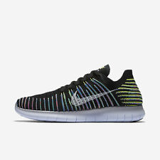 Nike Free RN Flyknit Mens Running Shoes 9.5 Black Volt Blue Lagoon 831069 003