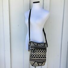 Lucky Brand Black and White Canvas Cross-body Messenger Bag, 11x10x4