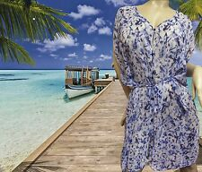 NWT GOTTEX GIDEON OBERSON Blue Jewel Dust Sheer BATHING SUIT COVER UP DRESS  MED