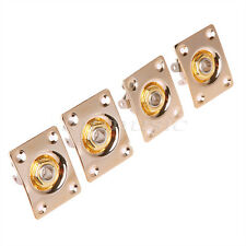 4pcs Gold Electric Guitar Output Input Jack Socket With Square JaCK Plate