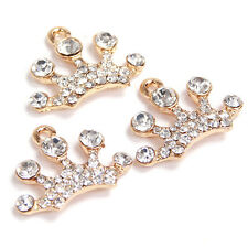 75pcs Wholesale Crafts Gold Plated Rhinestone Paved Crown Alloy Charms Pendant D