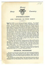 1959 WEST POINT Visitor's Information Guide Map Points Of Interest Memorials