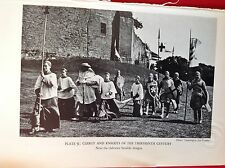 m3c 1953 picture  reprint clergy and Knights at a  castle pageant
