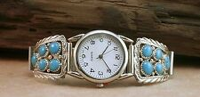 Navajo Turquoise Sterling Silver Mens Watch* SIGNED* NEW