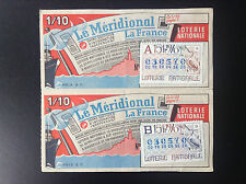 Lot de 2 Billets Loterie nationale 1970 meridional