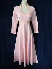 """70's Vintage Pink Lace Pearl Queen Anne 144"""" Sweep Formal Maxi Wedding Dress 8"""