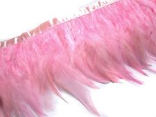 F219 PER FEET-Pink Rooster Hackle Hen feather fringe Trim Fascinator Material