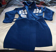 Doctor Who Tardis Mens Navy Blue Fleece Hooded Dressing Gown Robe Size S New