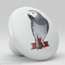 Tropical Parrot African Grey Bird Ceramic Knobs Pulls Kitchen Drawer Cabinet 390