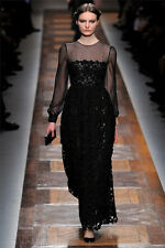 Valentino Long-sleeved, Ankle-length, Round necked Black Dress Size:40