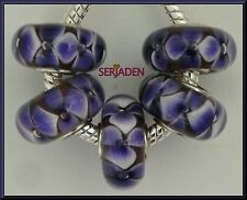 5 Purple Flower Single Core Beads Fits European Jewelry 8 * 14 & 5 mm Hole  B033