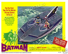 BATMAN LOBBY SCENE CARD # 3 POSTER 1966 ADAM WEST BURT WARD ROBIN BATBOAT