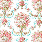 Cotton Bedding Clothwork Fabric Antique Dandy Shabby Floral Rose Damask Mint 44'
