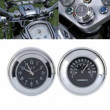 "7/8"" 1"" Harley Glide Black Motorcycle Handlebar Dial Clock and Temp Thermometer"