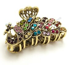 Multi-color Crystal Bronze Metal Alloy Peacock hair claws clips Fashion Jewelry