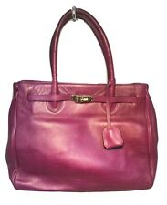 Francesco Rogani Vintage Eggplant Leather Kelly Bag Tote