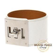Hermes Kelly dog bracelet von Veau Epsom white silver hardware R stamp