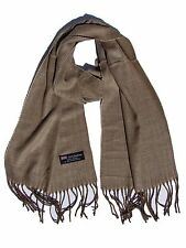 New 100% Cashmere Scarf Beige/Brown Twill Check Plaid Wool Soft Unisex (#G05)