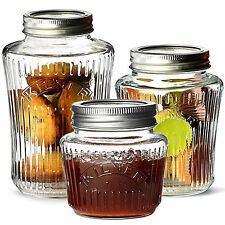Set Of 3 Vintage Glass Kitchen Tea Coffee Sugar Sweet Storage Canisters Jars Pot