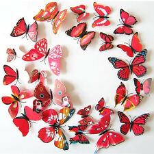 New 12pcs 3D Butterfly Wall Art Decal Stickers Magnet Mural Home Decoration Red