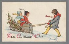 """[54994] OLD POSTCARD """"BEST CHRISTMAS WISHES"""" GIRLS RIDING ON LOG SLED"""