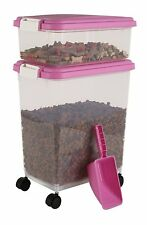 IRIS Airtight Pet Food Container Combo Kit, Pink/White, New, Free Shipping