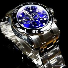 Invicta 48mm Pro Diver Scuba Violet Blue Chronograph Steel Watch +Extra Band New