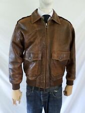 IOU true vintage 80s brown leather A-1 A-2 flyer bomber military jacket MEDIUM