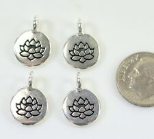 TierraCast, Lotus Charm, Drops, Antiqued Silver Plated, 20 Piece Bargain Buy