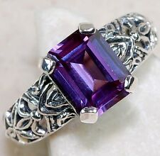 2CT Color Changing Alexandrite 925 Solid Sterling Silver Filigree Ring Sz 6 F1-7