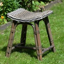 GREY RATTAN HAND MADE STOOL SEAT KITCHEN GARDEN SHED BEDROOM STUNNING