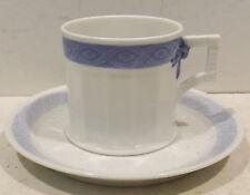 Royal Copenhague Fan/Éventail Bleu Mokka Café expresso avec U Assiette