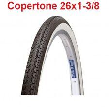 """1 Copertone Bianco/Nero 26x1-3/8 = 37-590 Deestone per Bici 26"""" Tipo Graziella"""