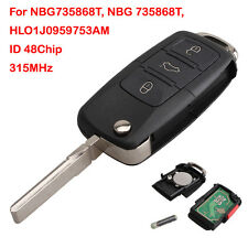 Flip Key Remote Fob Keyless Entry 315mhz 4 Button For VW Golf NBG735868T + Logo