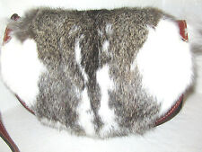 New Patricia Nash leather Half Moon Palma Saddle Bag Rabbit Fur NWT $249