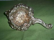 Beautiful Antique STERLING SILVER Tea Strainer Repousse Nouveau Hand Chased LILY