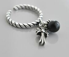 925 Solid Sterling Silver Ring Adjustable Cross with Onyx Size 6-8