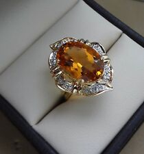 14K YELLOW GOLD 5.00 CARAT OVAL CITRINE GEMSTONE RING W/ DIAMOND PAVE HALO