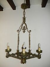 ~c 1920 Rare French Green Fleur di Lys Wrought Iron Chandelier 5 Lights~