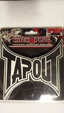 """TAPOUT HITCH PLUG  2"""" AND 1 1/4""""  METAL #2230  5.5"""" X 5"""" BLACK ON BRUSHED ALUM"""