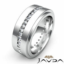 Mens Eternity Wedding Band Channel Set Round Diamond Ring 14k White Gold 1.50Ct