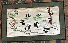 """Antique Chinese Hand Embroidery  Wall Hanging Scenery Panda 13"""" By 25"""""""