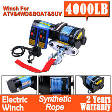 Electric Winch 4000LB(1814kg) 12V Wireless Remote Synthetic Rope ATV 4x4WD Boat