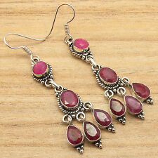 925 Silver Plated Facetted RUBY GIRLS' RED Earrings JEWELRY From India Jaipur