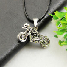 Retro Jewelry Alloy Skull Motorcycle Charm Pendant Necklace Chain Accessory
