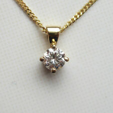 New.16ct Diamond Solitaire 9ct Yellow Gold Pendant Necklace & 20 inch curb Chain