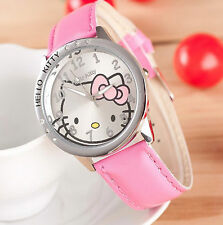 Kids Girls Hello Kitty Light Pink Wrist Watch Analog Leather Strap Steel Back